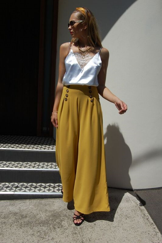 lace top mustard pant